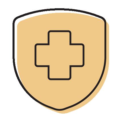 healthcare icon with orange overlay