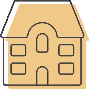 multi-unit family housing unit icon with orange overlay