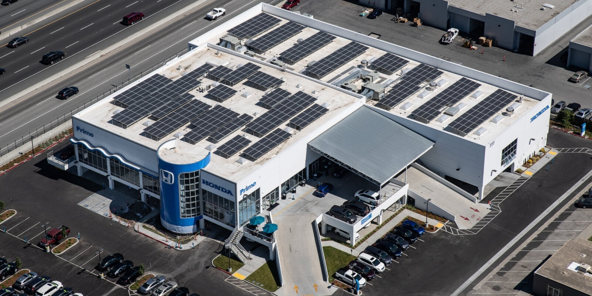 A Honda dealer with massive amount of roof-mount solar installed!
